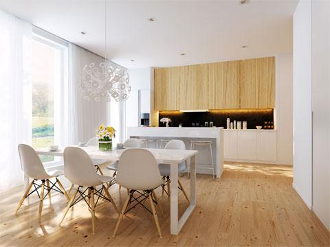 Интерьер с деревянным полом фото